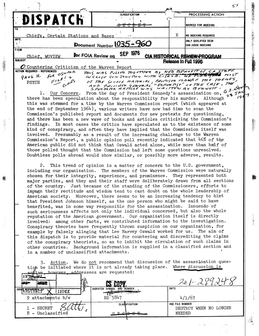 CIA Document 1035-960 Conspiracy Theory P1